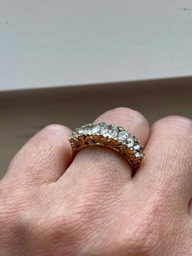 Antique Victorian Five Stone Diamond 18 Karat Gold Half Hoop Ring For Sale 2