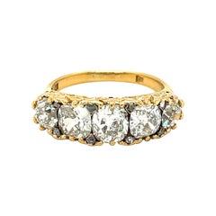 Antique Victorian Five Stone Diamond 18 Karat Gold Half Hoop Ring