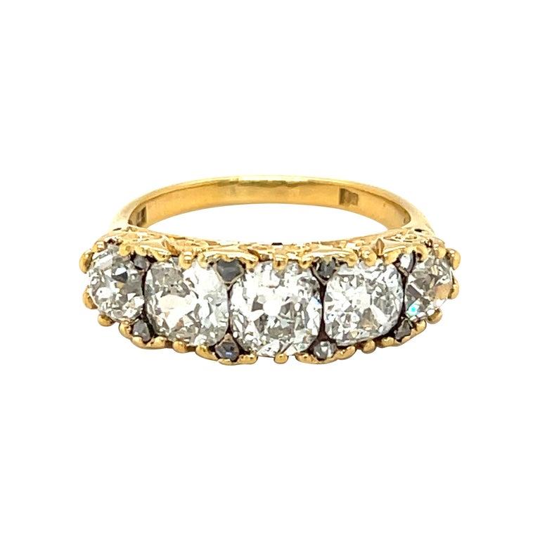 Antique Victorian Five Stone Diamond 18 Karat Gold Half Hoop Ring For Sale