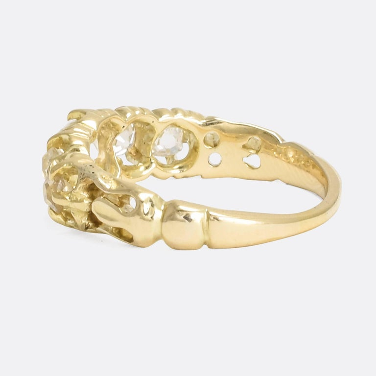 Antique Victorian Five-Stone Old Mine Cut Diamond Gold Ring In Good Condition For Sale In Sale, Cheshire