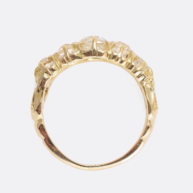 Antique Victorian Five-Stone Old Mine Cut Diamond Gold Ring For Sale 1