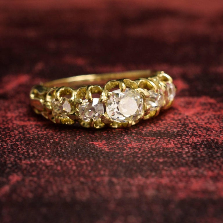Antique Victorian Five-Stone Old Mine Cut Diamond Gold Ring For Sale 2