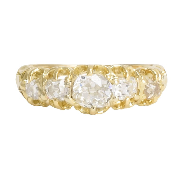 Antique Victorian Five-Stone Old Mine Cut Diamond Gold Ring For Sale
