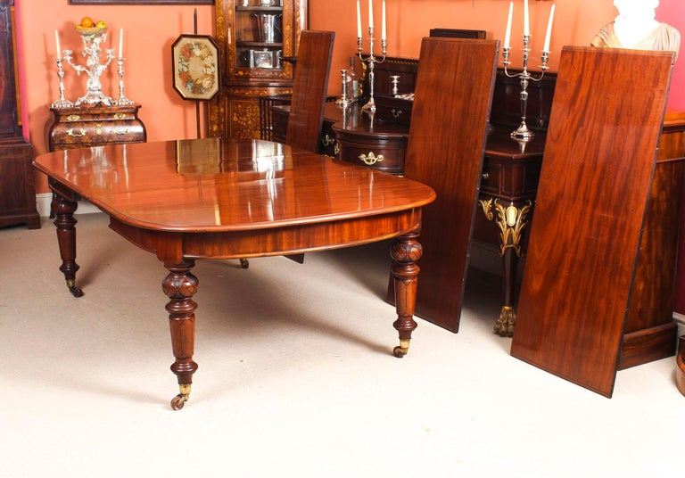 Antique Victorian Flame Mahogany D End Extending Dining Table 19th Century For Sale 5