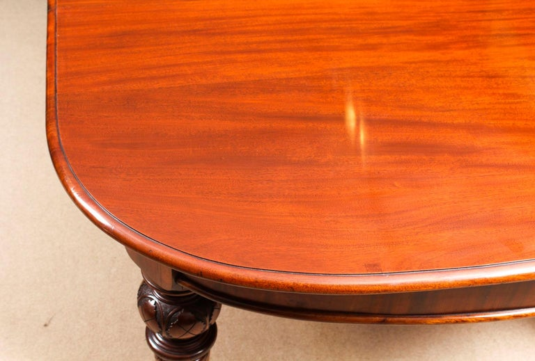 Antique Victorian Flame Mahogany D End Extending Dining Table 19th Century For Sale 7