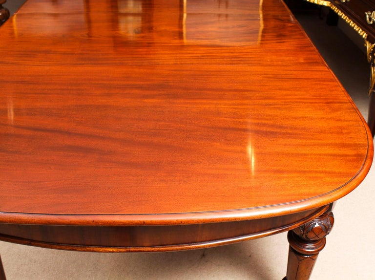 Antique Victorian Flame Mahogany D End Extending Dining Table 19th Century For Sale 8