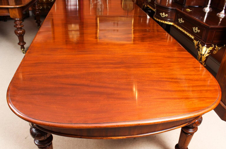 Antique Victorian Flame Mahogany D End Extending Dining Table 19th Century For Sale 9