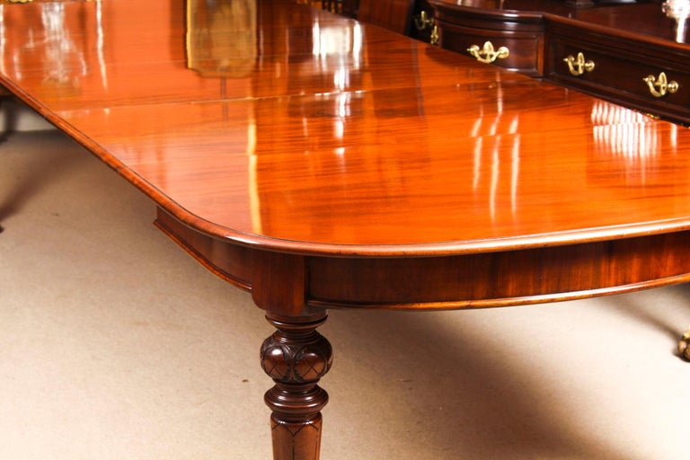 Antique Victorian Flame Mahogany D End Extending Dining Table 19th Century For Sale 10