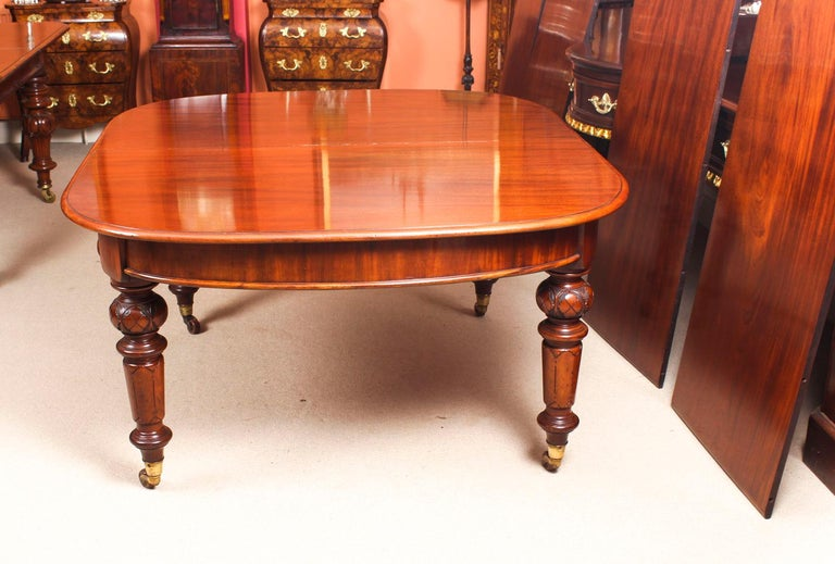 Antique Victorian Flame Mahogany D End Extending Dining Table 19th Century For Sale 11