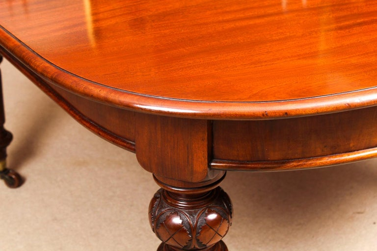 Antique Victorian Flame Mahogany D End Extending Dining Table 19th Century For Sale 12