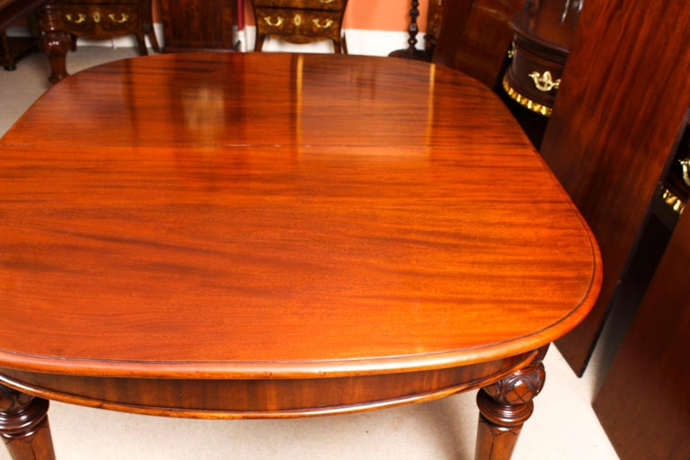 Antique Victorian Flame Mahogany D End Extending Dining Table 19th Century For Sale 13