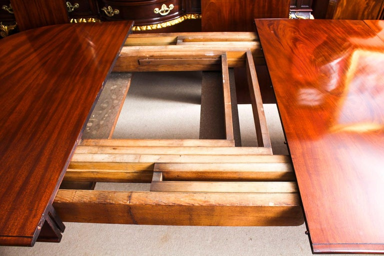 Antique Victorian Flame Mahogany D End Extending Dining Table 19th Century For Sale 14
