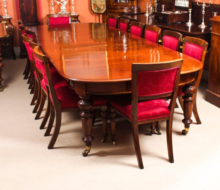English Antique Victorian Flame Mahogany D End Extending Dining Table 19th Century For Sale