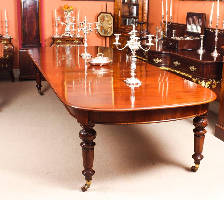 Late 19th Century Antique Victorian Flame Mahogany D End Extending Dining Table 19th Century For Sale