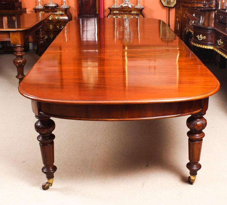 Antique Victorian Flame Mahogany D End Extending Dining Table 19th Century For Sale 2