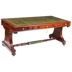 Antique Victorian Flame Mahogany Writing Library Centre Table, 19th Century
