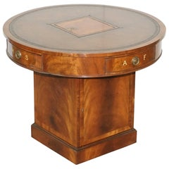 Antique Victorian Flamed Hardwood Revolving Rent Drum Table Brown Leather Top