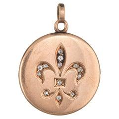 Antique Victorian Fleur-de-Lis Locket Old Mine Cut Diamond 10 Karat Gold Vintage