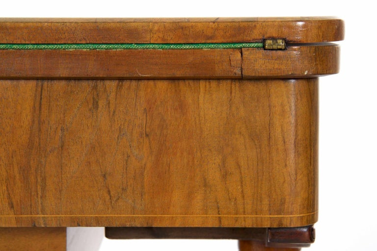 Antique Victorian Flip Top Figured Walnut Games & Work Table, circa 1860-1880 For Sale 5