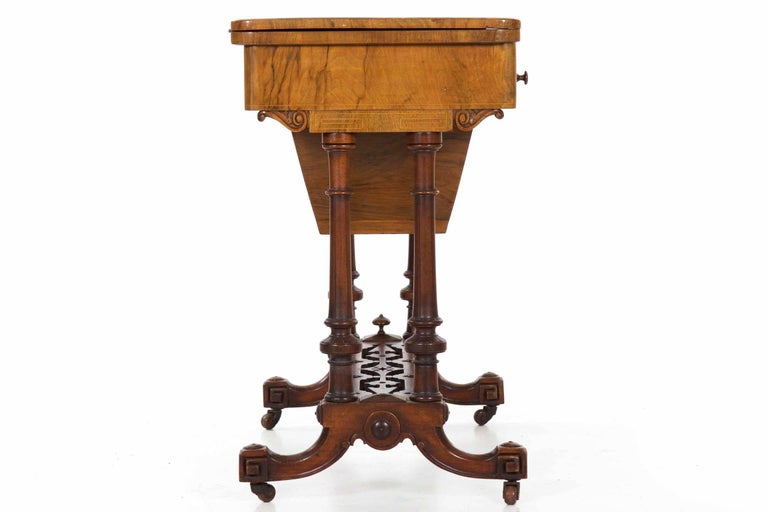 Antique Victorian Flip Top Figured Walnut Games & Work Table, circa 1860-1880 For Sale 6