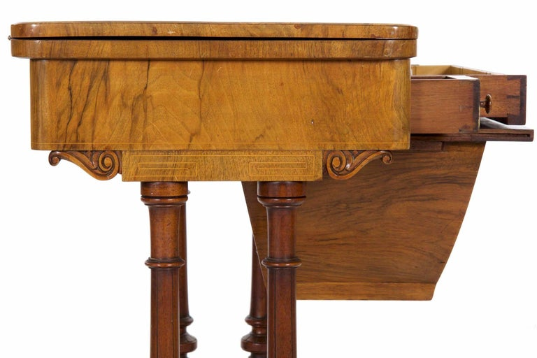 Antique Victorian Flip Top Figured Walnut Games & Work Table, circa 1860-1880 For Sale 7