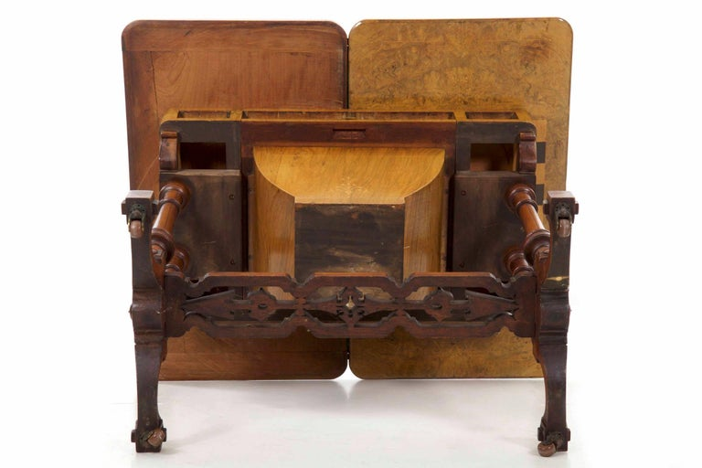 Antique Victorian Flip Top Figured Walnut Games & Work Table, circa 1860-1880 For Sale 13