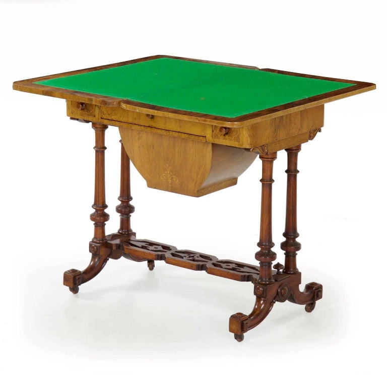 Early Victorian Antique Victorian Flip Top Figured Walnut Games & Work Table, circa 1860-1880 For Sale