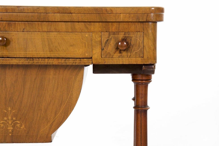 English Antique Victorian Flip Top Figured Walnut Games & Work Table, circa 1860-1880 For Sale