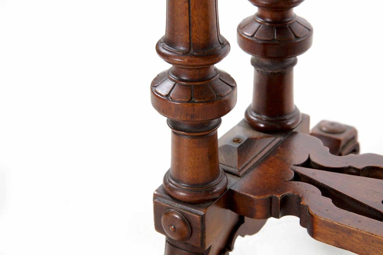 19th Century Antique Victorian Flip Top Figured Walnut Games & Work Table, circa 1860-1880 For Sale