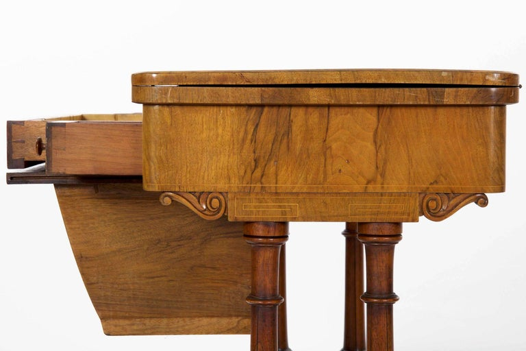 Antique Victorian Flip Top Figured Walnut Games & Work Table, circa 1860-1880 For Sale 1