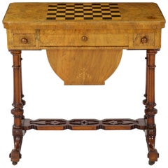 Antique Victorian Flip Top Figured Walnut Games & Work Table, circa 1860-1880