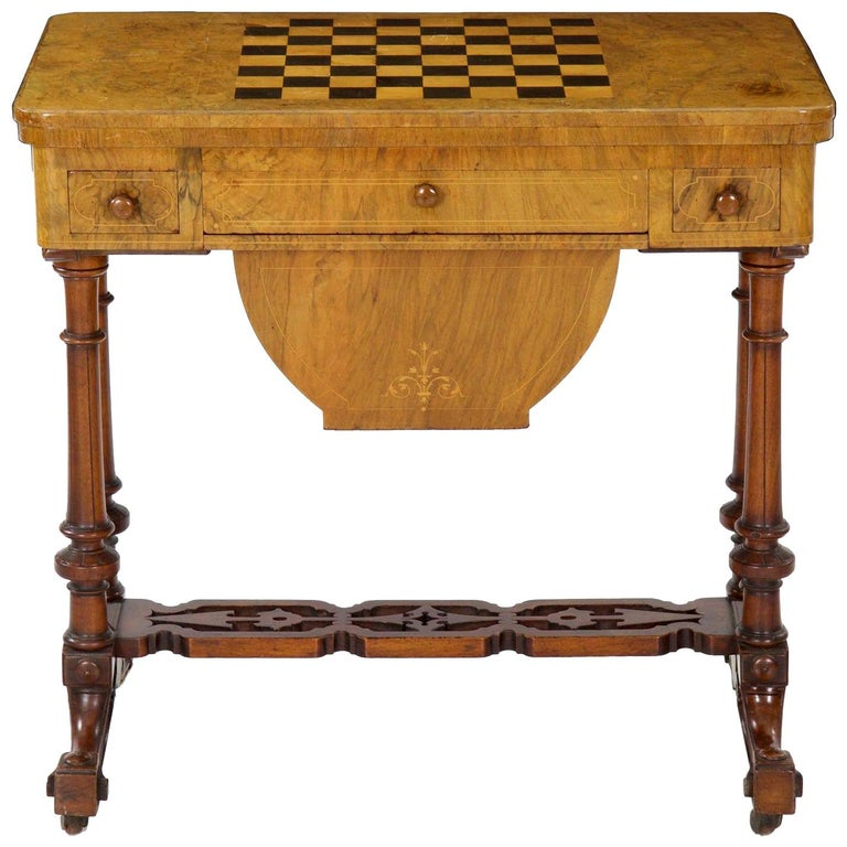 Antique Victorian Flip Top Figured Walnut Games & Work Table, circa 1860-1880 For Sale