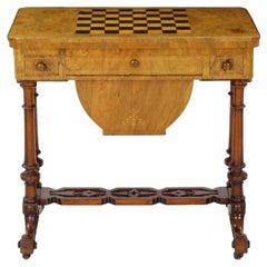 Antique Victorian Flip Top Figured Walnut Games & Work Table, circa 1860-1880