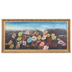 Antique Victorian Floral Oil Painting on Tin Gold Frame Signed Peonies Roses