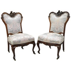 Antique Victorian Floral Scrollwork Carved Mahogany Parlor Side Chairs, a Pair