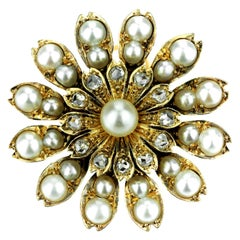 Antique Victorian Flower Brooch/Pendant with Natural Pearl and Rose Cut Diamonds