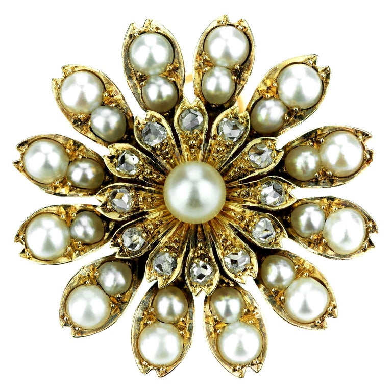 Antique Victorian Flower Brooch/Pendant with Natural Pearl and Rose Cut Diamonds For Sale