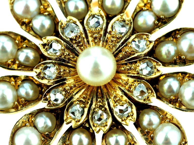 Women's Antique Victorian Flower Brooch/Pendant with Natural Pearl and Rose Cut Diamonds For Sale
