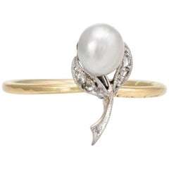 Antique Victorian Flower Conversion Ring Diamond Pearl 10 Karat Gold Jewelry