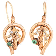 Antique Victorian Flower Earrings Vintage 10 Karat Gold Drops Seed Pearl Estate