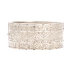 Antique Victorian Foilate Chased Silver Cuff Bangle
