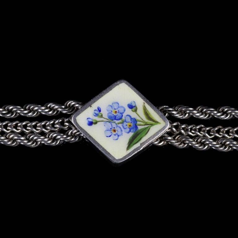 Antique Victorian Forget Me Not Bracelet, circa 1980 In Excellent Condition For Sale In Lancaster, Lancashire