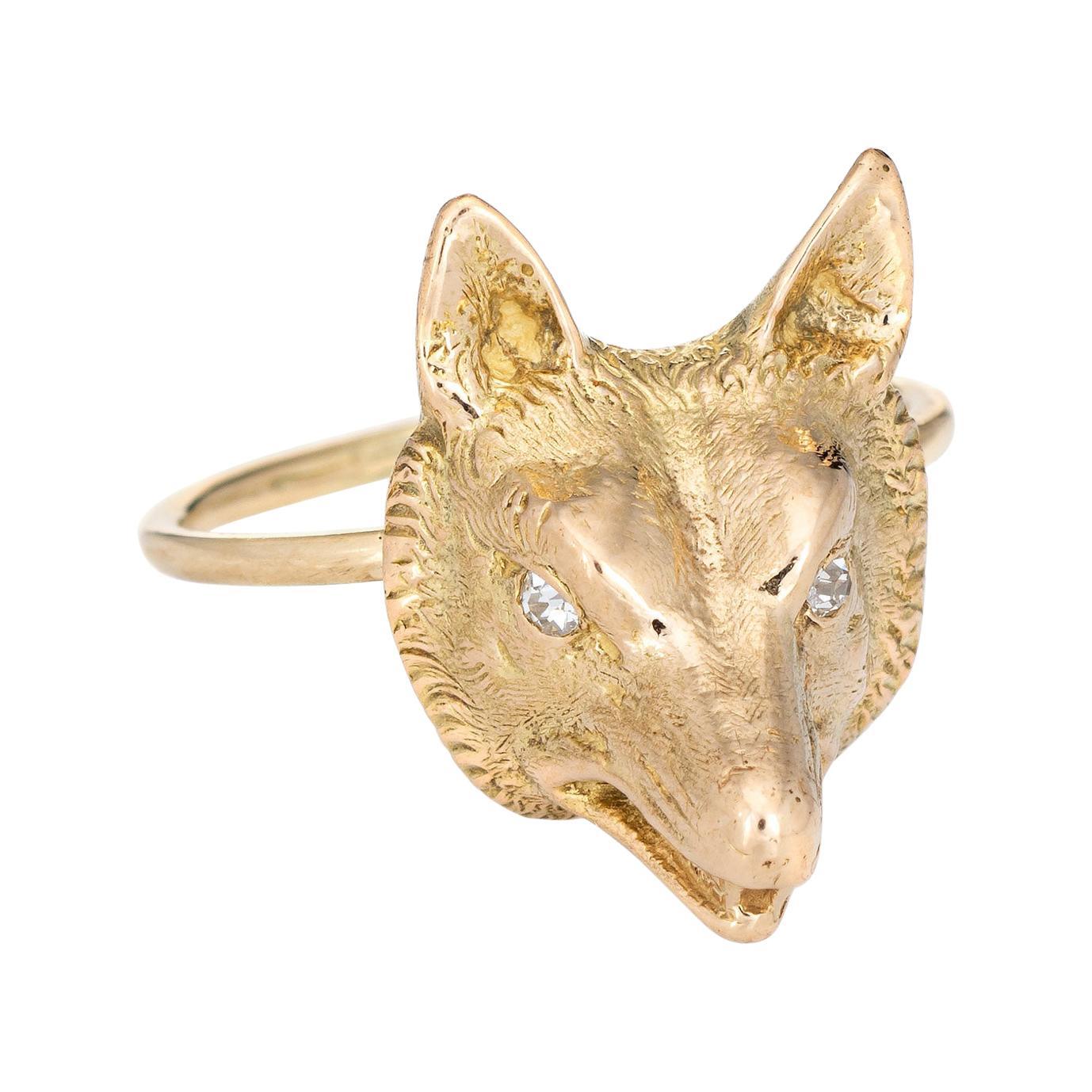 Antique Victorian Fox Conversion Ring 14k Gold Diamond Eyes Animal Jewelry
