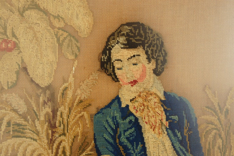 Antique victorian framed needlepoint, tapestry courting couple, Scotland 1850, B2536   Scotland 1850 Birdseye maple Original finish Large birdseye maple frame with original glass It features a courting couple holding hands in a garden