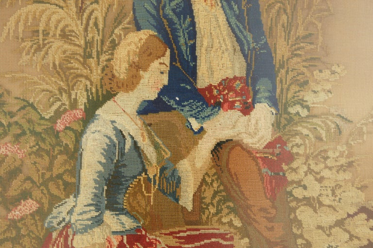Scottish Antique Victorian Framed Needlepoint, Tapestry Courting Couple, Scotland 1850 For Sale