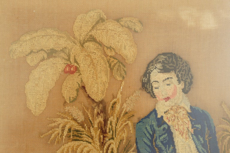 Antique Victorian Framed Needlepoint, Tapestry Courting Couple, Scotland 1850 In Good Condition For Sale In Vancouver, BC