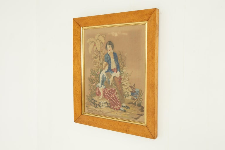 Antique Victorian Framed Needlepoint, Tapestry Courting Couple, Scotland 1850 For Sale 1