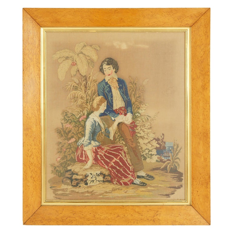 Antique Victorian Framed Needlepoint, Tapestry Courting Couple, Scotland 1850 For Sale