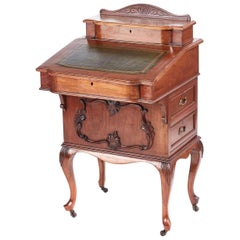 Antique Victorian Freestanding Walnut Davenport