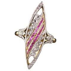 Antique Victorian French 18 Karat Gold Platinum Rose Cut and Ruby Navette Ring
